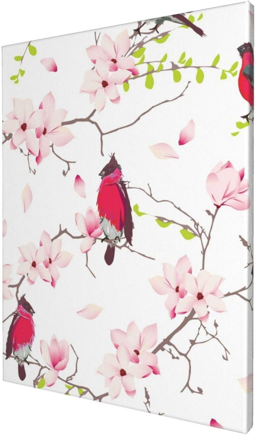 Abstract Wall Art Gallery Wall Decor, Cute Red Bullfinches Wall Paintings, Farmhouse Decor for the Home, Wall Pictures for Living Room Frameless Wall Hanging Decor Paintings 12x16 inch