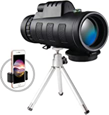 Monocular Telescope Scope, 4060 with Phone Clip and Tripod for Adults Cell Phone for Bird Watching (Black)