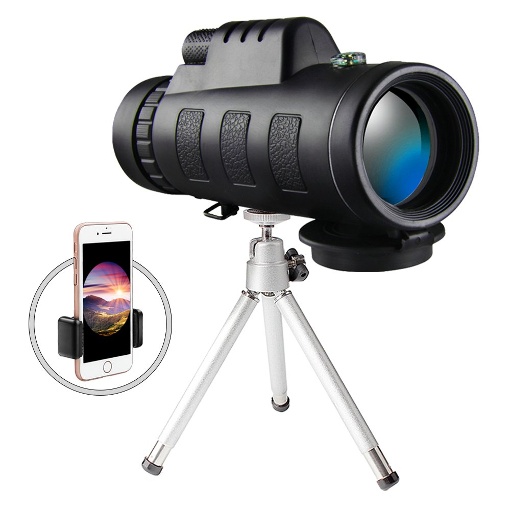 Monocular Telescopes Scope Adults Cell Phone Adapter Bird Watching (Black)