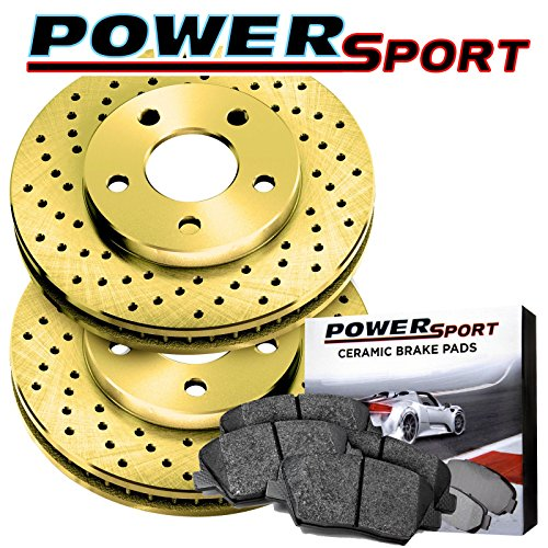 Front Gold Cross-Drilled Brake Rotors Disc and Ceramic Pads Blazer,K1500