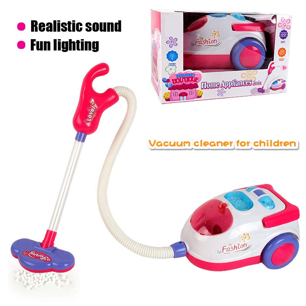 Miklan Pretend Play Vacuum Cleaner for Kids,Role Hoover Realistic,Toddlers Age 3 Years, Pink Light Sound