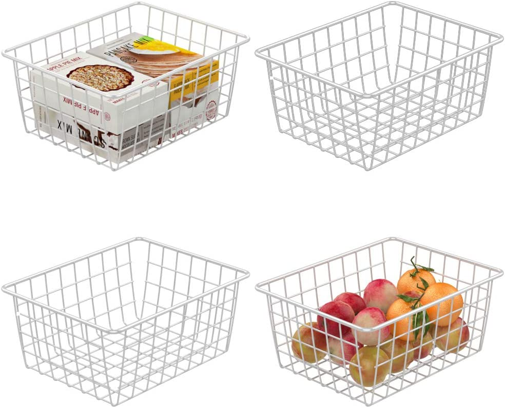 Wire Basket, Cambond 4 Pack Wire Baskets for Storage Durable Metal Basket Pantry Organizer Storage Bin Baskets for Kitchen Cabinets, Pantry, Bathroom, Countertop, Closets (White, Small)