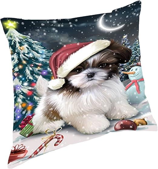"CUTE LHASA APSO PUPPY DOGS PHOTO CHRISTMAS SANTA COATS 16/"" Pillow Cushion Cover"