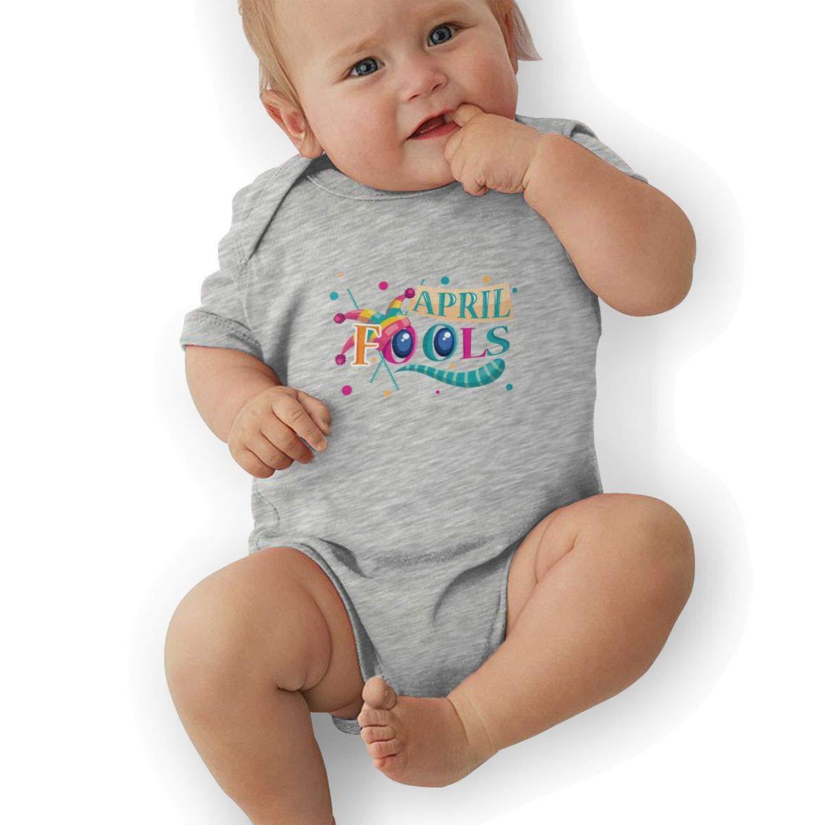 Toddler Baby Boys Bodysuit Short-Sleeve Onesie Funny Fools Day Full Print Rompers Summer Pajamas