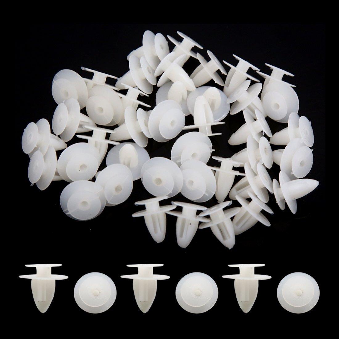 Amazon.com: eDealMax 40Pcs blancos remaches de plástico Sujetador Fender pegatina de Clips de empuje 9 mm Para el coche: Automotive