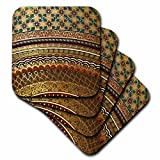 3dRose cst_155664_1 Gold-Look Stripe Pattern with Magen David Stars Matte Middle Eastern Arabian Moroccan Abstract Soft Coasters, Set of 4