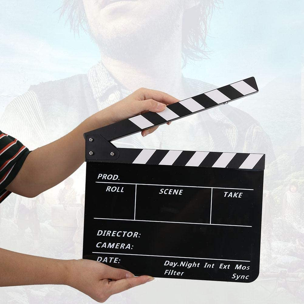 Vbestlife Film Clap Board Film and Television Photography Props with Whiteboard Pen Color BlackboardPAV1CBE Movie Action Board Cut Scene Director Clapper