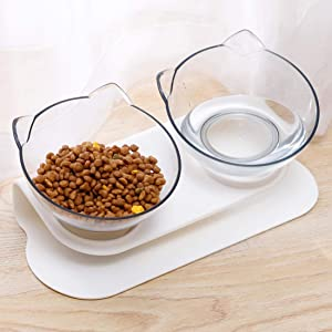 Elevated Cat Dog Bowls,Cat Food Water Bowls 15°Tilted Raised Cat Feeder Bowl with Anti Slip Stand for Cats Dogs