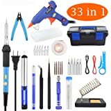 Soldering Iron Kit Electronics 33 in 1, Upgraded 60W Adjustable Temperature Soldering Iron with ON/OFF Switch,Mini Hot Glue Gun,5-in-1 Screwdriver,5 Tips,Solder Wire,Solder Sucker,Tweezers,Stand,Case