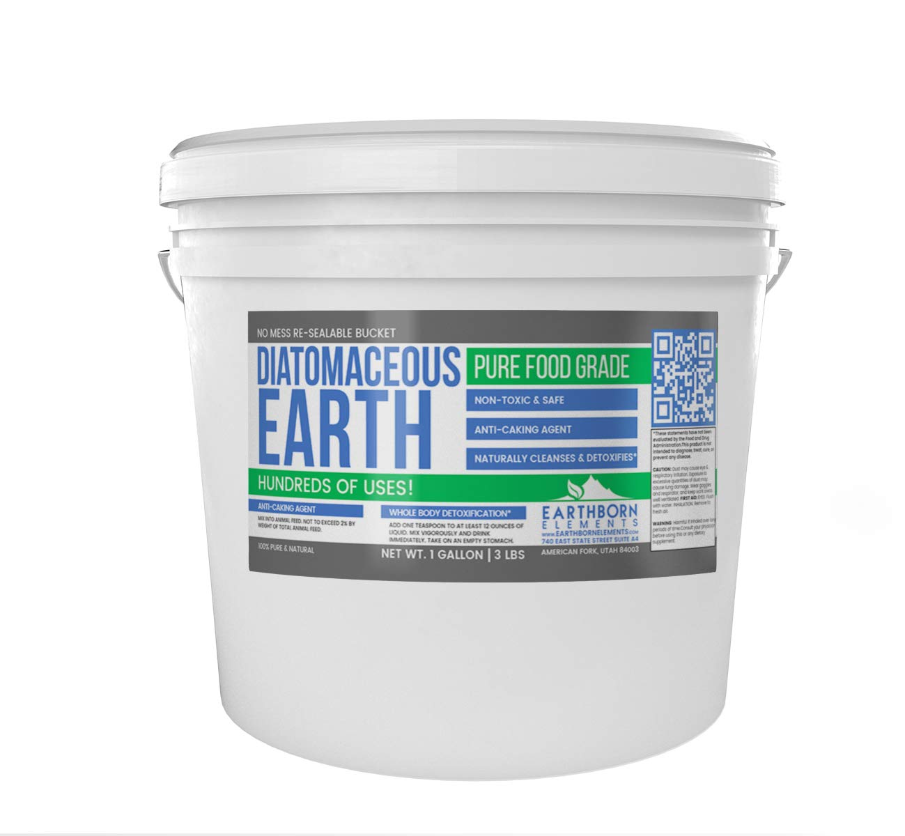 Diatomaceous Earth (1 Gallon (3 Lbs.)) by Earthborn Elements, Resealable Bucket, Highest Quality, FCC Food Grade, 100% Pure Freshwater Amorphous Silica
