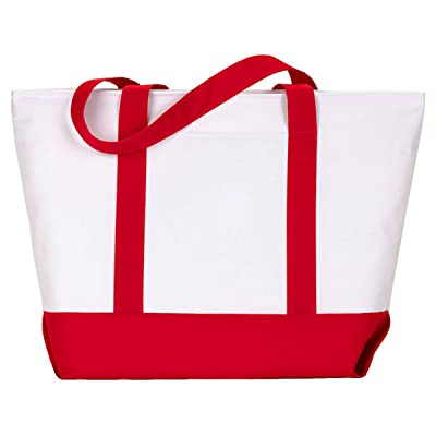 UltraClub Zippered Polyester Tote Bag 7006 White/ Red