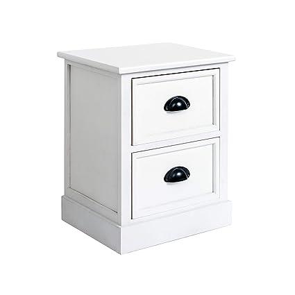 Rebecca Mobili Table De Nuit Blanc Classique Commode De Chevet 2 Tiroirs Bois Chambre A Coucher Salle De Bain Dimensions 46 X 37 X 29 Cm