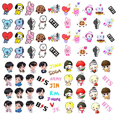 Nuofeng - BTS Stickers Bangtan Boys Gold-Plated Support Light Cute Cartton Stickers for Laptop Decoration Cellphone Decals (4PCS)