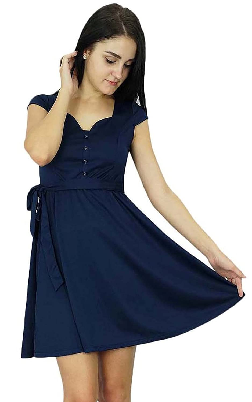 Bimba Womens Clothing Short Shift Dress Casual Navy Blue Skater Dress