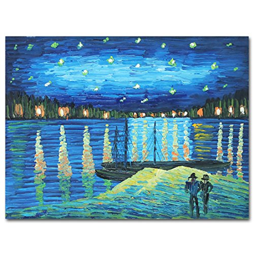 (Muzagroo Art Van Gogh Famous Painting Starry Night Over the Rhone Reproduction Painted By Hand on Canvas Stretched Ready to Hang (12x16))