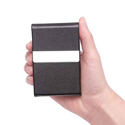 Amazon teemzone professional business name card holder case teemzone professional business name card holder case genuine leather stainless steel multi credit card holder reheart Image collections
