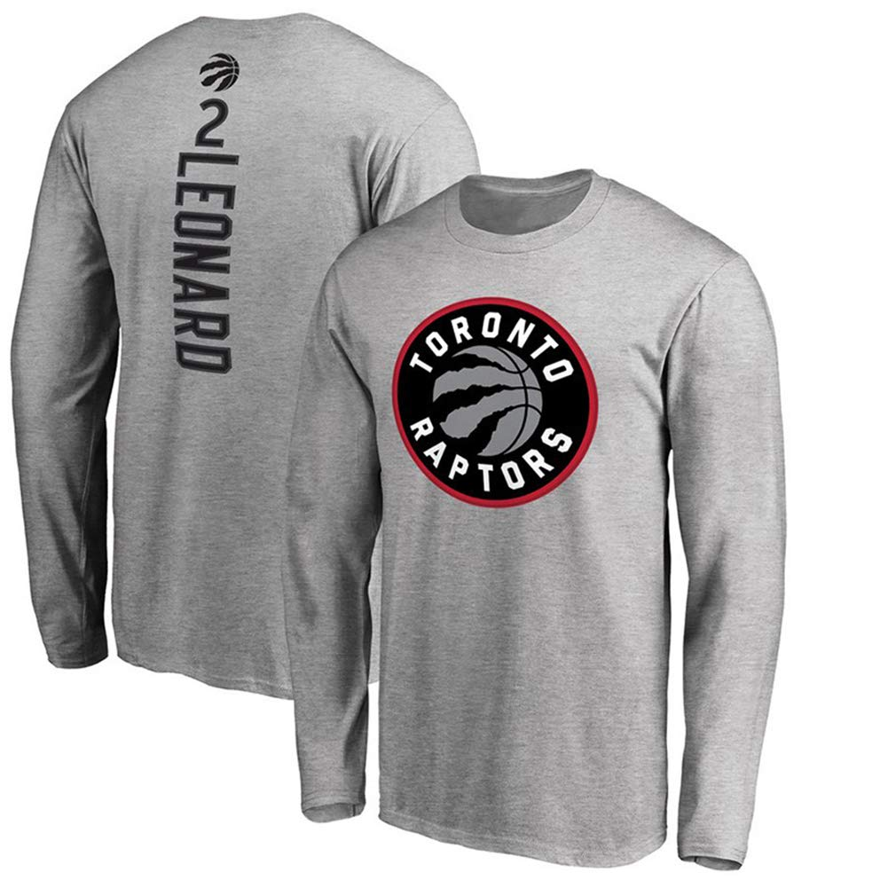 ,S HS-MANWEI Herbst Basketball Jersey Toronto Raptors2# Kawhi Leonard Warm Langarm T-Shirt Freizeit Sweatshirt M/änner Grau