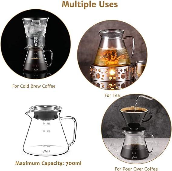 Glastal Cold Brew Dripper 600ml / 4 tazas Cafetera de goteo frío hecha de vidrio de borosilicato y acero inoxidable 18/8 Cafetera ajustable para café y té preparado en frío: Amazon.es: Hogar