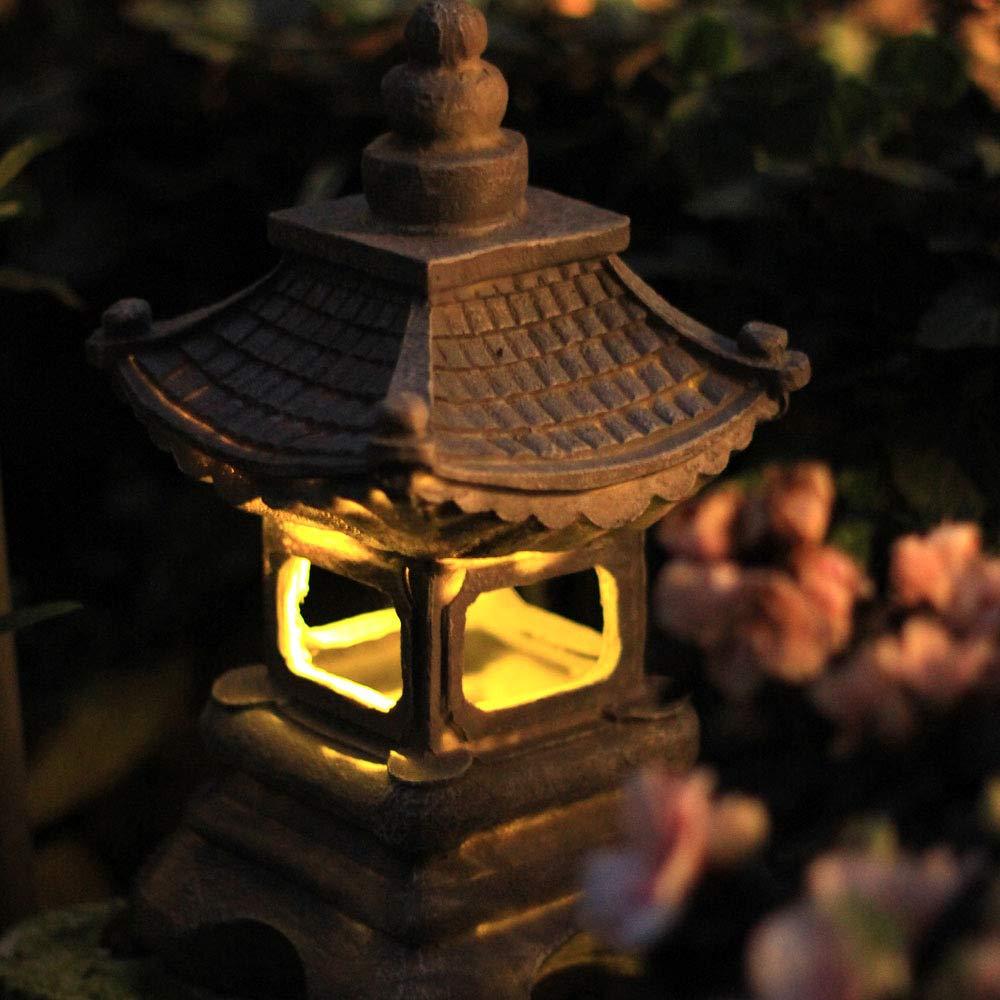 zenggp Japanese Style Solar Zen Garden Lights Lantern Pagoda Light Solar Garden Lamp Statue by zenggp (Image #4)