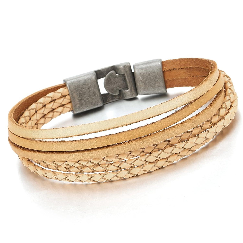 Multi-strand Beige Brown Braided Leather Bracelet for Men and Women Wristband Wrap Bracelet