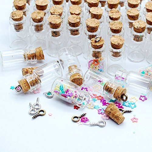 Sprite Science8482; 50pcs Transparent 0.5ml Message Bottles Spice Storage Glass Vials Clear Glass Bottles with Corks Miniature Glass Bottle with Cork Empty Sample Jars Small Xmas Gift - Bottles Altered Christmas