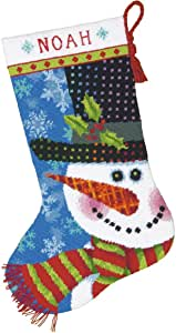 Dimensions Happy Snowman Whimsical Christmas Needlepoint Stocking Kit 09143