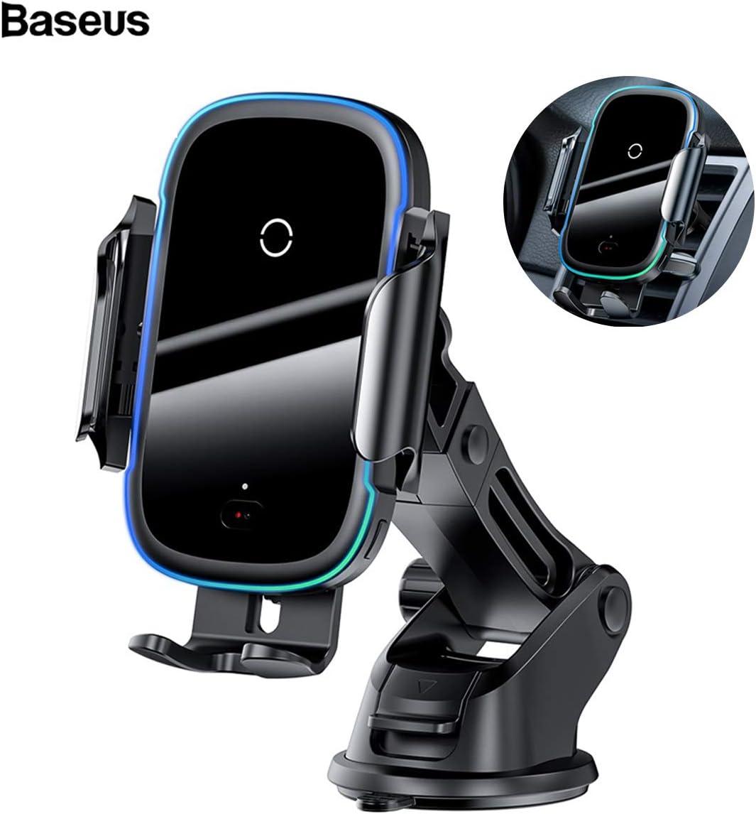 Baseus Cargador Inalámbrico Coche 2 en 1 para salpicadero de ventilación Qi de 15 W, soporte de teléfono compatible con iPhone 11 Pro, XS, Xs Max, XR, Samsung Galaxy S10 S9 Plus, Huawei P30 Pro