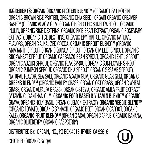 Large Product Image of Orgain Organic Plant Based Meal Replacement Powder, Creamy Chocolate Fudge, Vegan, Gluten Free, Non-GMO, 2.01 Pound, 1 Count, Packaging May Vary