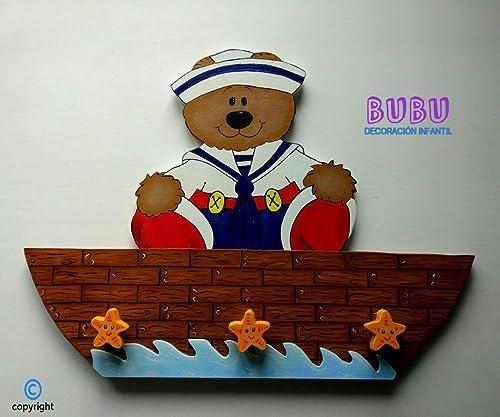 Perchero infantil Osito/Osita marinero: Amazon.es: Handmade