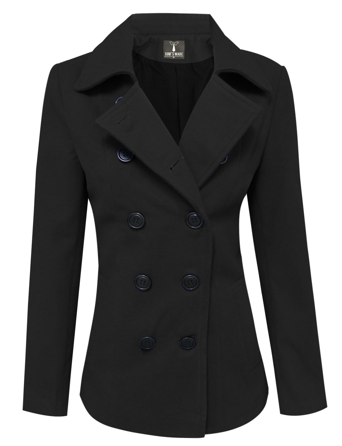 TAM Ware Womens Trendy Double Breasted Wool Pea Coat TWCWC06-BLACK-S