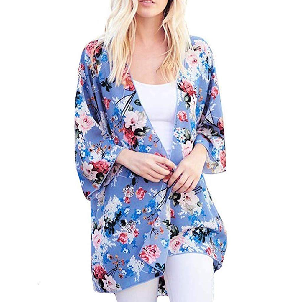 NUWFOR Fashion Womens Printing Three Quarter Sleeve Cardigan Smock Easy Blouse Tops(Blue,XL US Bust:43.3'')
