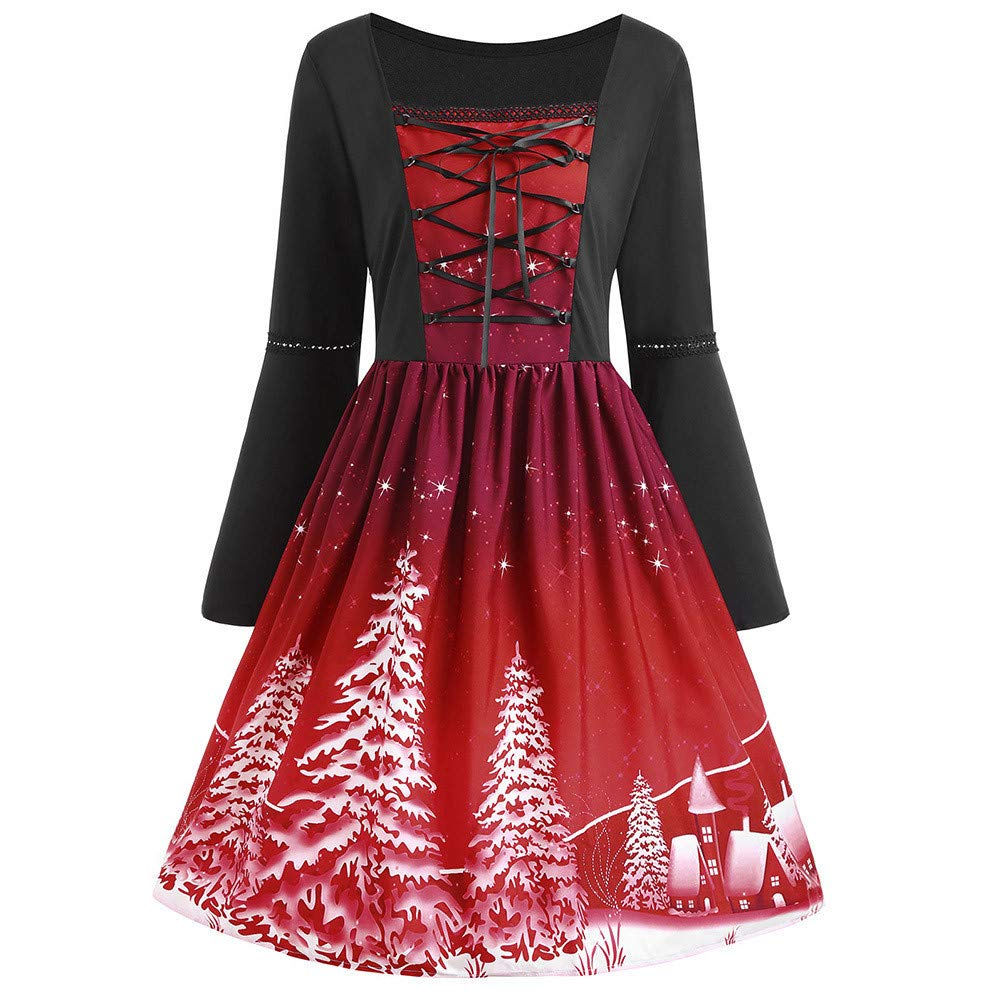 Plus Size Christmas Printed Flare Dress Women Long Sleeve Cross Bandage Swing Dress Wine Red by UOFOCO