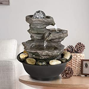 """PeterIvan 4-Tier Cascading Resin-Rock Falls Tabletop Water Fountain - 11 2/5"""" Small Relaxation Waterfall Feature with LED Lights&Ball, Indoor Oudoor Decorative Tabletop Fountain for Stress Relief"""