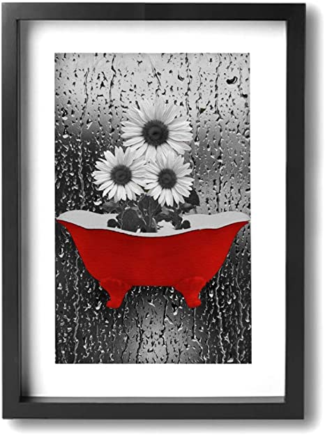 Kingsleyton White Flowers Butterflies Red Gray Bathroom Wall Art Framed Canvas Prints Ready To Hang For Wall Decor Amazon Ca Home Kitchen