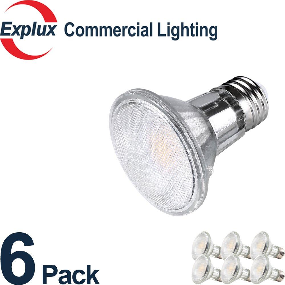 Premium Full-Glass Dimmable LED PAR20 LED Bulbs, 500 Lumens, Weatherproof 6.5W (50 Watts Equivalent) LED PAR20 Flood Light Bulbs, 3000K Bright White, (Pack of 6)