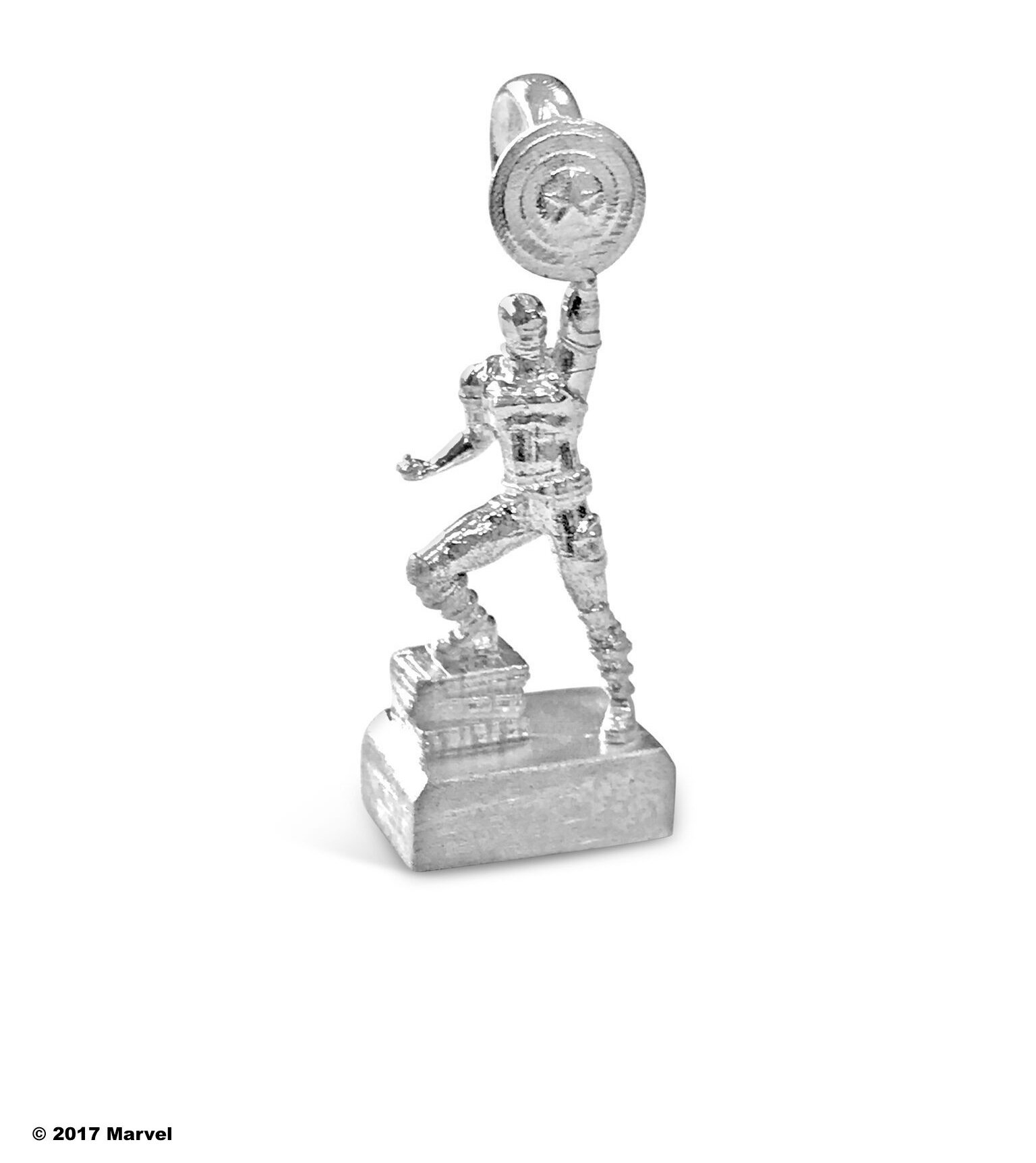 Marvel's 75th Anniversary Captain America Statue Bead in Sterling Silver