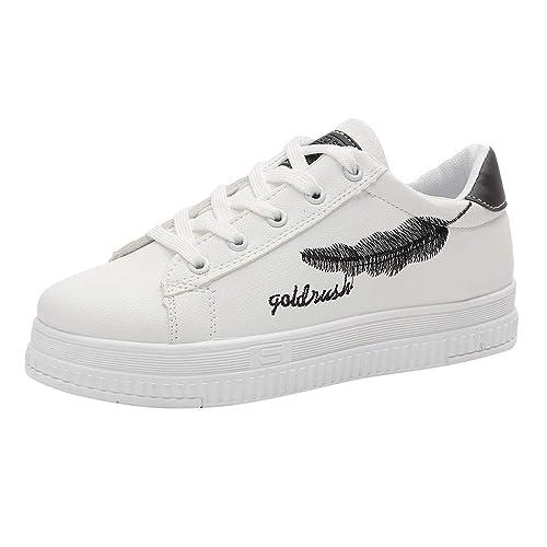 Zapatillas de Deporte Plataforma para Mujer Sneakers Cuña Botines Planos Casual Piel Zapatos Invierno Planas con Cordones de Punta Redonda: Amazon.es: ...