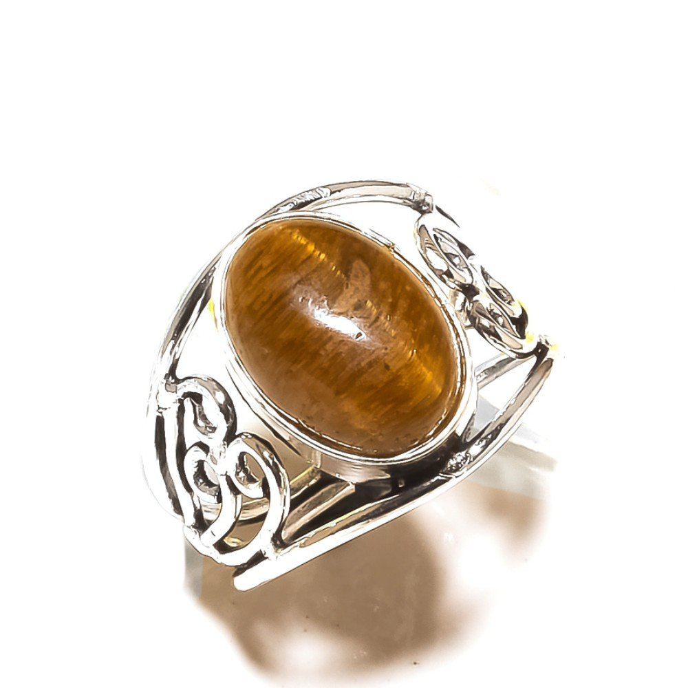 Brown Tiger Eye Handmade Jewellry 925 Sterling Silver Plated 5 Grams Ring Size 9 US Ancient Style