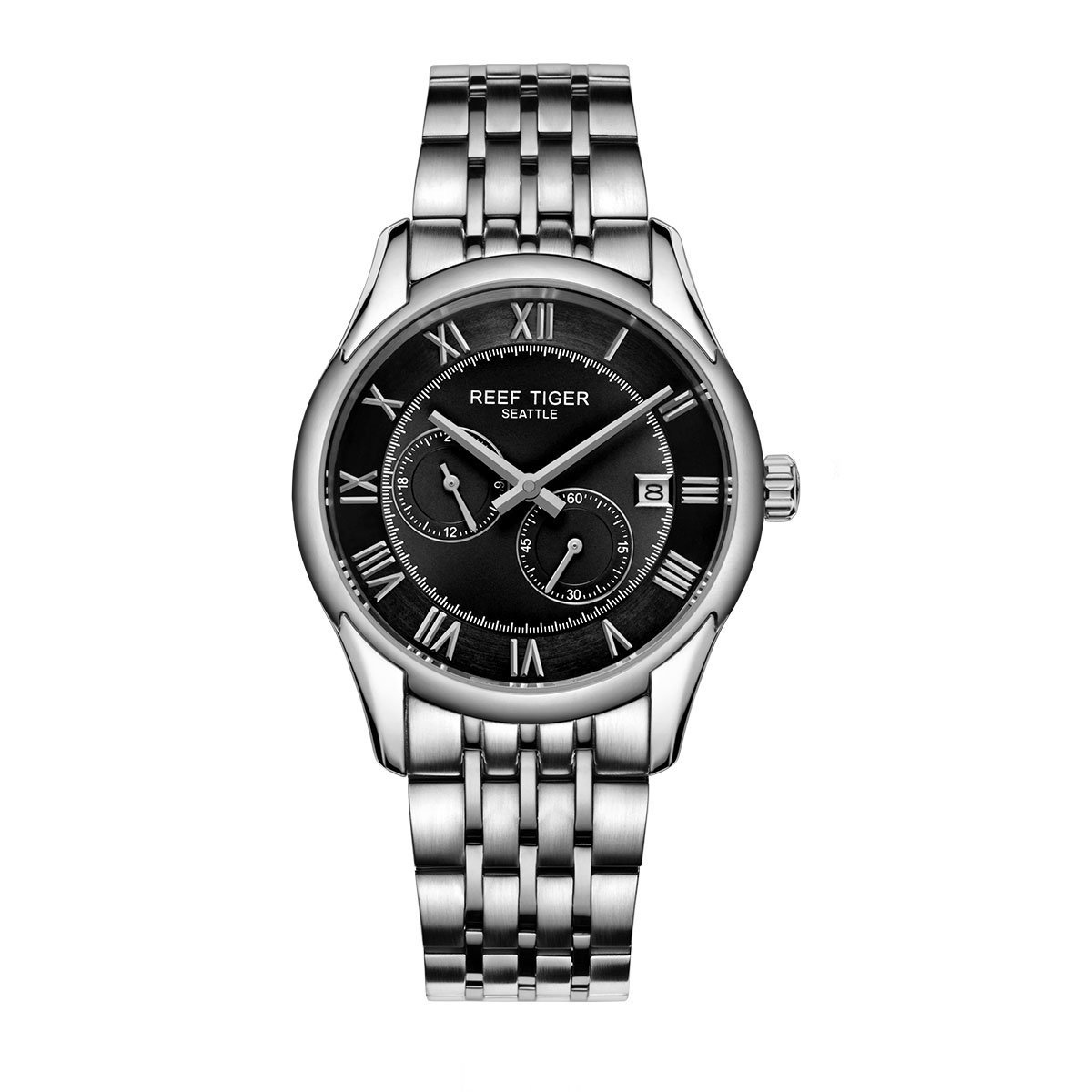Reef Tiger Business Watches Date Four Hands Stainless Steel Black Dial Watch RGA165