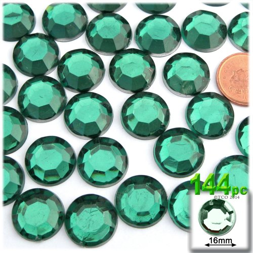The Crafts Outlet 144-Piece Flatback Round Rhinestones, 16mm, Emerald Green