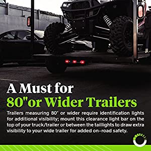 """ONLINE LED STORE 15"""" Red 9-LED Trailer Light Bar with Black Stainless Steel Bracket [DOT Certified] [IP67 Submersible] Clearance ID Marker Tail Light for 80"""" or Wider Trailers"""