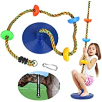 CDCASA Swing Climbing Rope Tree Swing Set Accessories for Kids Outdoor Playset with Platform and Disc Swing Seat…