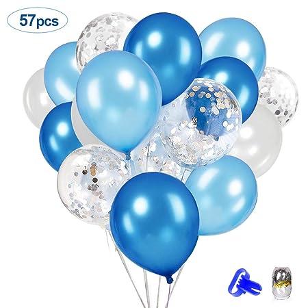 SPECOOL Globos Azul Blanco, 50 Piezas 12 Pulgadas látex Globos Azul Blanco para la Fiesta Cumpleaños Deco Boy, Decoraciones de cumpleaños, Bautizo, ...