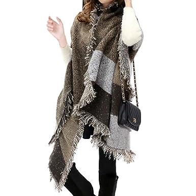 a4f950eb9d4 Lantch Grosse Echarpe Plaid Femme Tissu Grand Châle Mode Hiver (Café ...