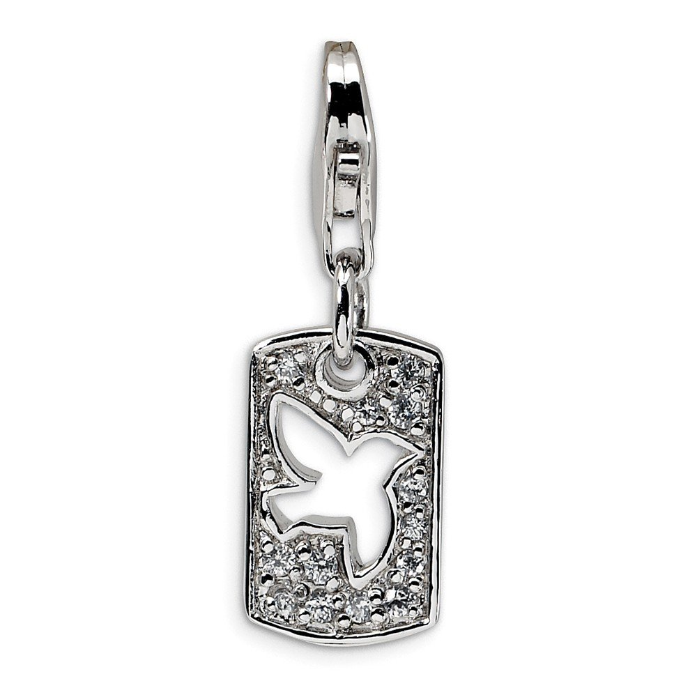 Sterling Silver Rhodium-plated Fancy Lobster Closure Cubic Zirconia Cut-out Dove Peace Clip-on With Lobster Clasp Charm Measures 27x9mm