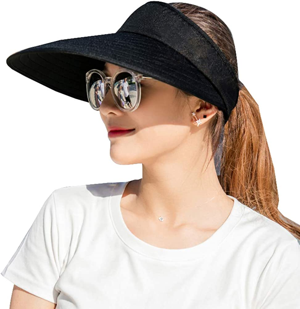Sun Visor Hats Women Large Brim Summer UV Protection Beach Cap Black at  Women's Clothing store