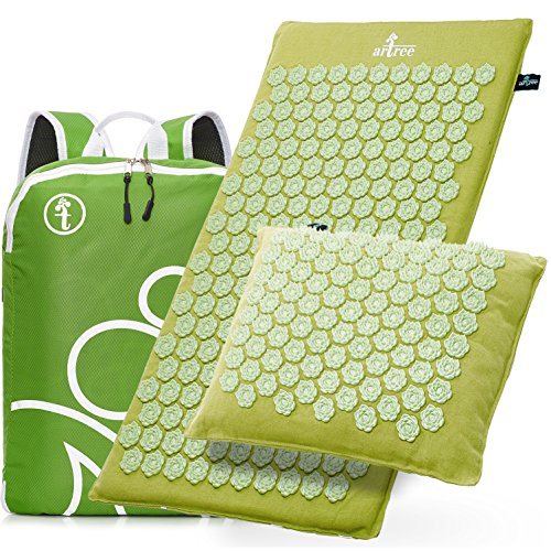 Acupressure Mat and Pillow Set Natural Linen – Acupuncture Mat and Pad - Back Pain and Neck Pain Relief Reflexology Mat - Stress Muscle Relief Improves Sleep Insomnia - Free (Mat Neck)