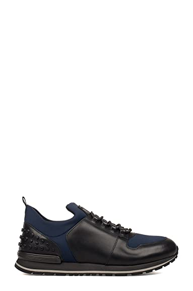 110f46edf Tod's Men's XXM0XH0V400HQ93102 Blue/Black Leather Sneakers Multi Size: 8.5  US - Brand Size