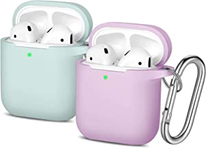 Easuny Silicone Case Compatible for Apple AirPods - 2 Pack Cover for Airpod 2 & 1 Protective Skin [Front LED Visible] Wireless Charging Case Women Men, Aqua/Lavender