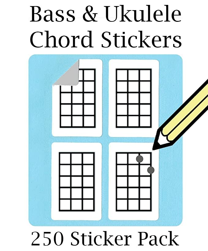 Ukulele Chord Tablature Stickers Set 250 Sticker Pack Super
